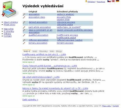 Překladové termíny zobrazené v kontextu, zde s omezením na weby IT