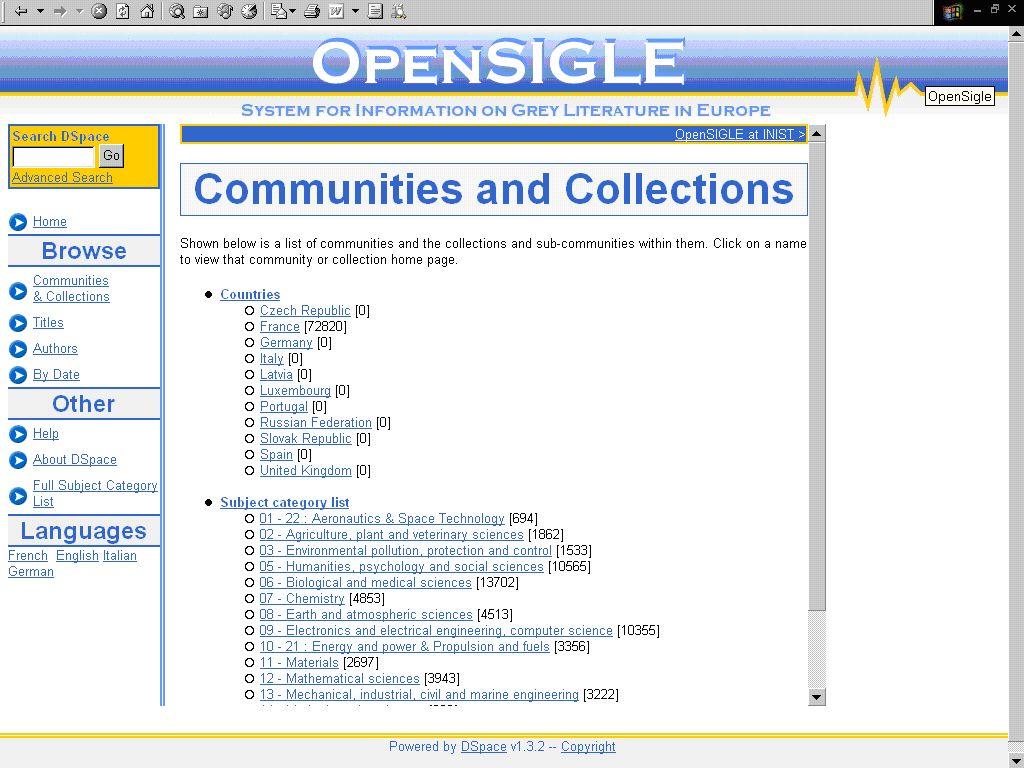Obr. č. 1: Podstránka domovské stránky prototypu online zpřístupňování databáze OpenSIGLE s přehledem fondů komunit zemí a předmětových kategorií [získáno 2007-09-20]