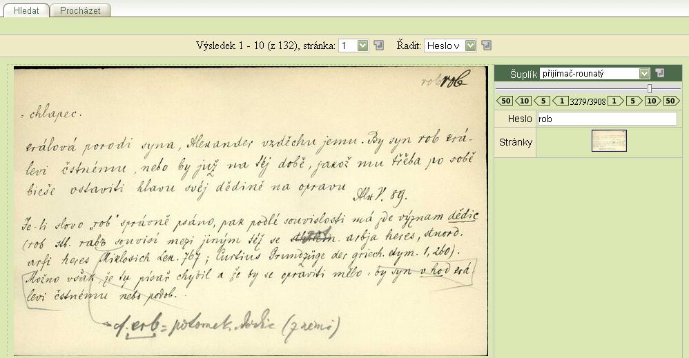 Obr. 5: Náhled zobrazení výsledků hledání v Lístkové kartotéce J. Gebauera