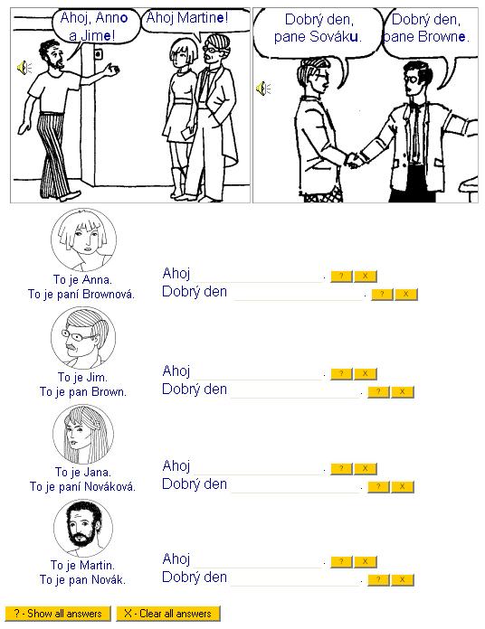 Obr. 6: Výuková lekce gramatiky se zobrazenými odpověďmi na portálu All about Czech Language