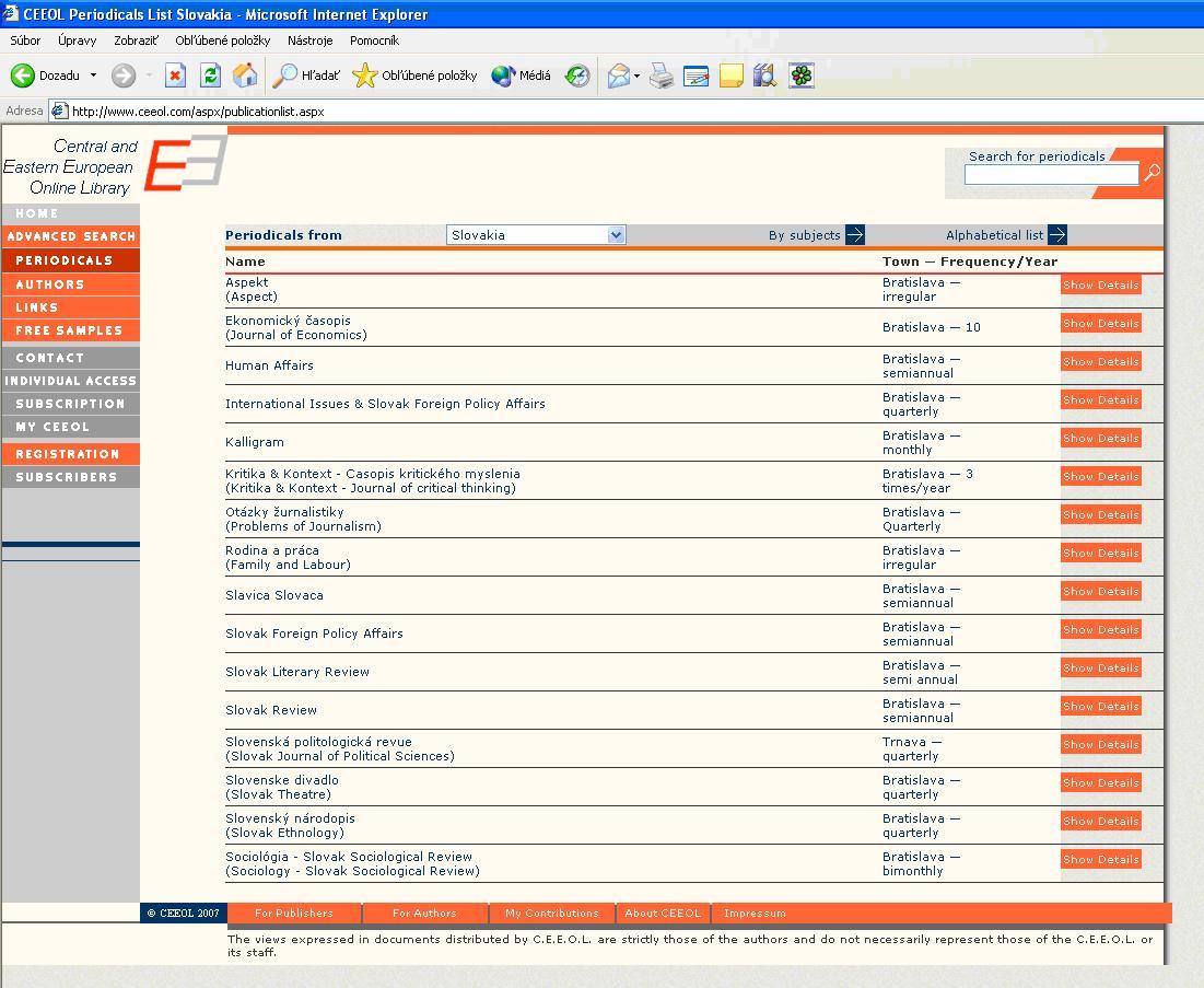 Obr. 3: Listovanie v zozname periodík –zoznam podľa krajiny (voľný prístup)