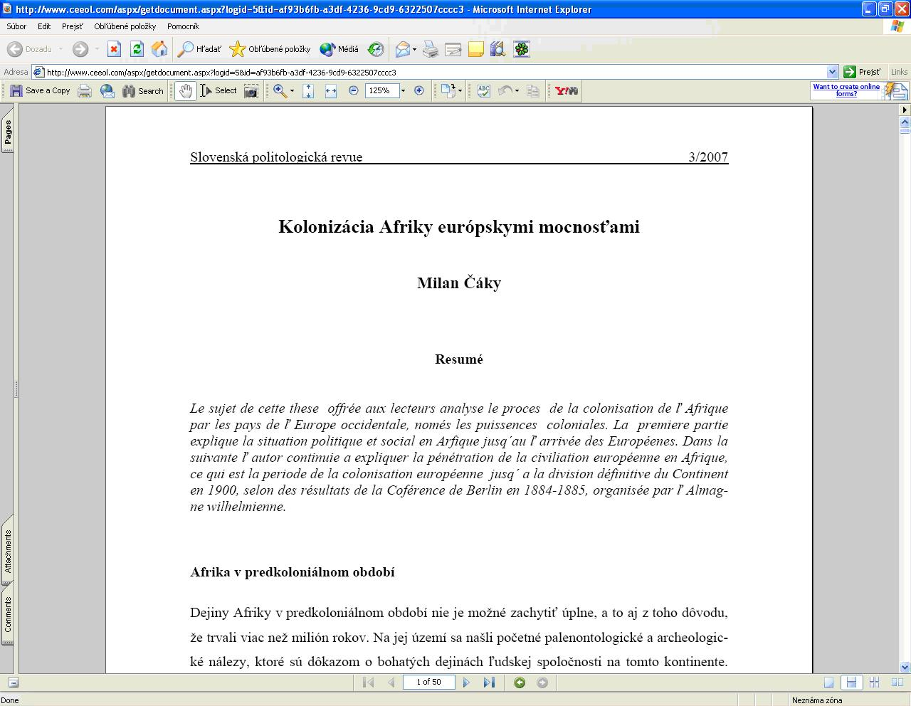 """Obr. 7: Konkrétny článok v PDF formáte po kliknutí na tlačidlo """"view"""" (licencovaný prístup)"""