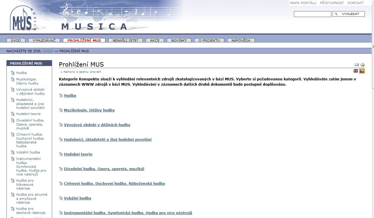 Sbírku webových odkazů můžete též prohlížet prostřednictvím kategorií Konspektu v Prohlížení MUS