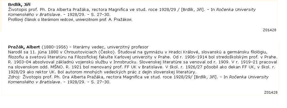 Obr. 4: Zobrazenie totožného záznamu v databáze Bibliografia článkov a v databáze Biografie vo výročných škol. správach 1918/19-1952/53 (Biografie)