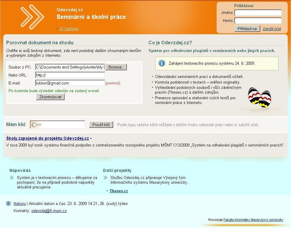 Obr. 4: Neautentizovaná kontrola souboru na plagiáty (výsledek přijde na uvedený e-mail)