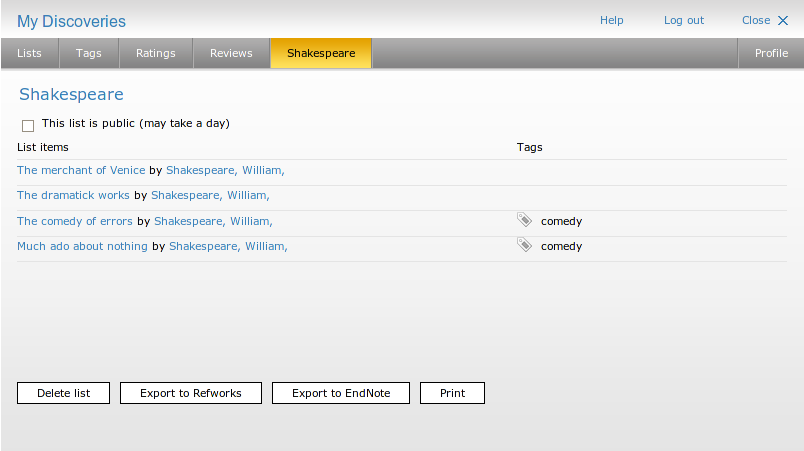 Obr. 5: Ukázka uživatelského seznamu v modulu Mé objevy systému AquaBrowser