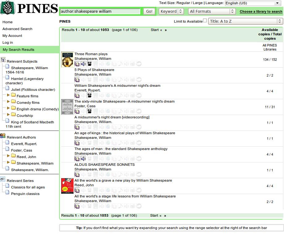 Obr. 3: Ukázka seznamu výsledků vyhledávání v systému Evergreen