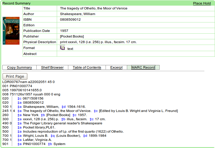 Obr. 4: Ukázka zobrazení úplného záznamu v systému Evergreen