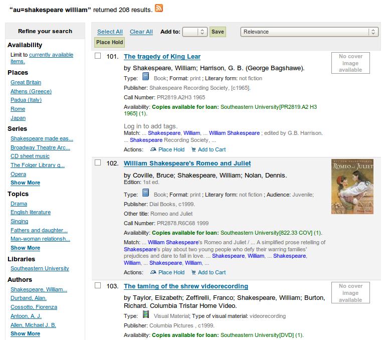 Obr. 7: Ukázka seznamu výsledků vyhledávání v systému Koha
