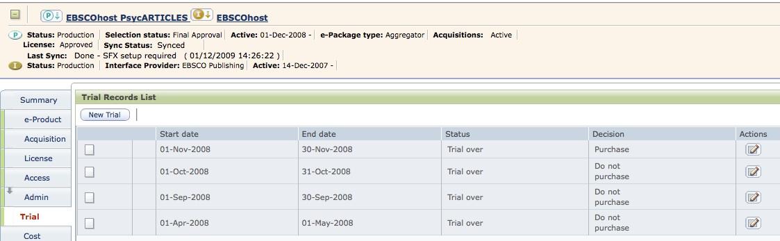 Seznam záznamů Trialu u databáze EBSCOhost PsycARTICLES
