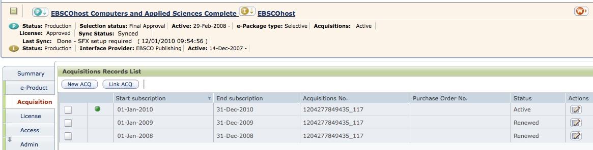 Archiv akvizičních záznamů u databáze EBSCOhost Computer and Applied Sciences Complete