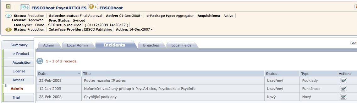 Záznamy řešení problémů s přístupem u databáze EBSCOhost PsycARTICLES