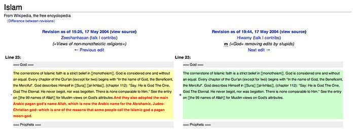 Zobrazení rozdílu mezi dvěma konkrétními revizemi hesla Islam