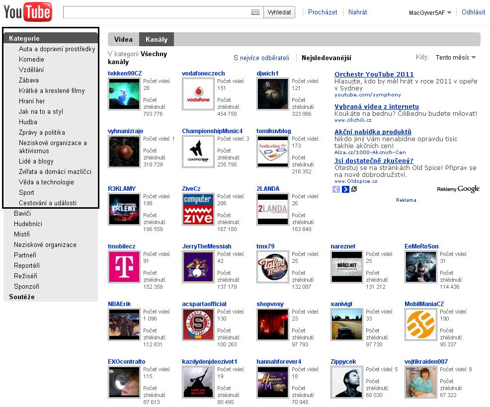 Obr. 3: Rozřazení videí v kategoriích