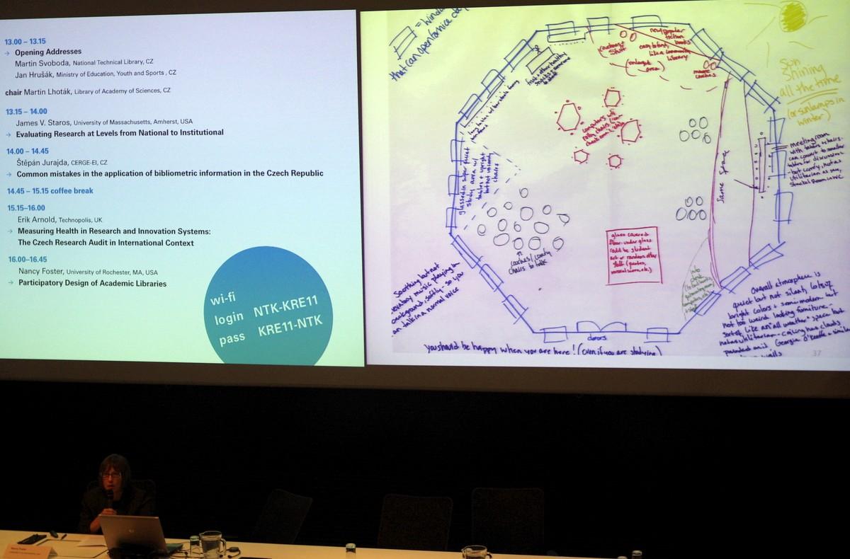 Nancy Fosterová seznamuje sprvotními návrhy nového rozložení prostoru knihovny. Je založen na připomínkách a návrzích jejích uživatelů