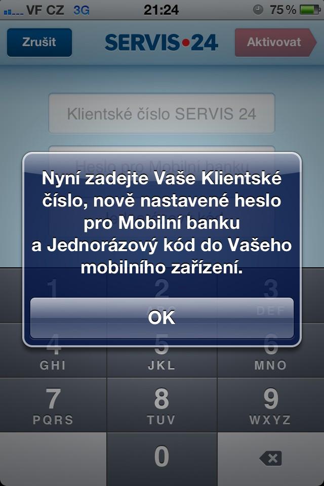 Nastavení mobilního bankovnictví