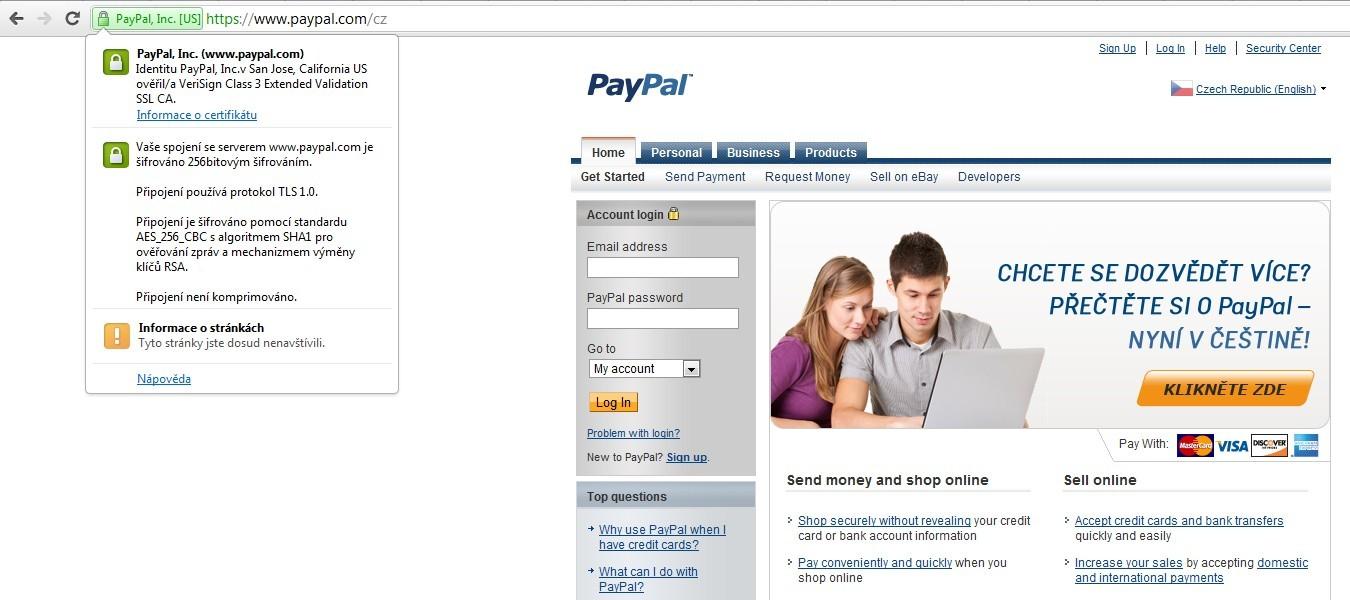 Webové stránky PayPal jsou zabezpečené špičkovými certifikáty společnosti VeriSign