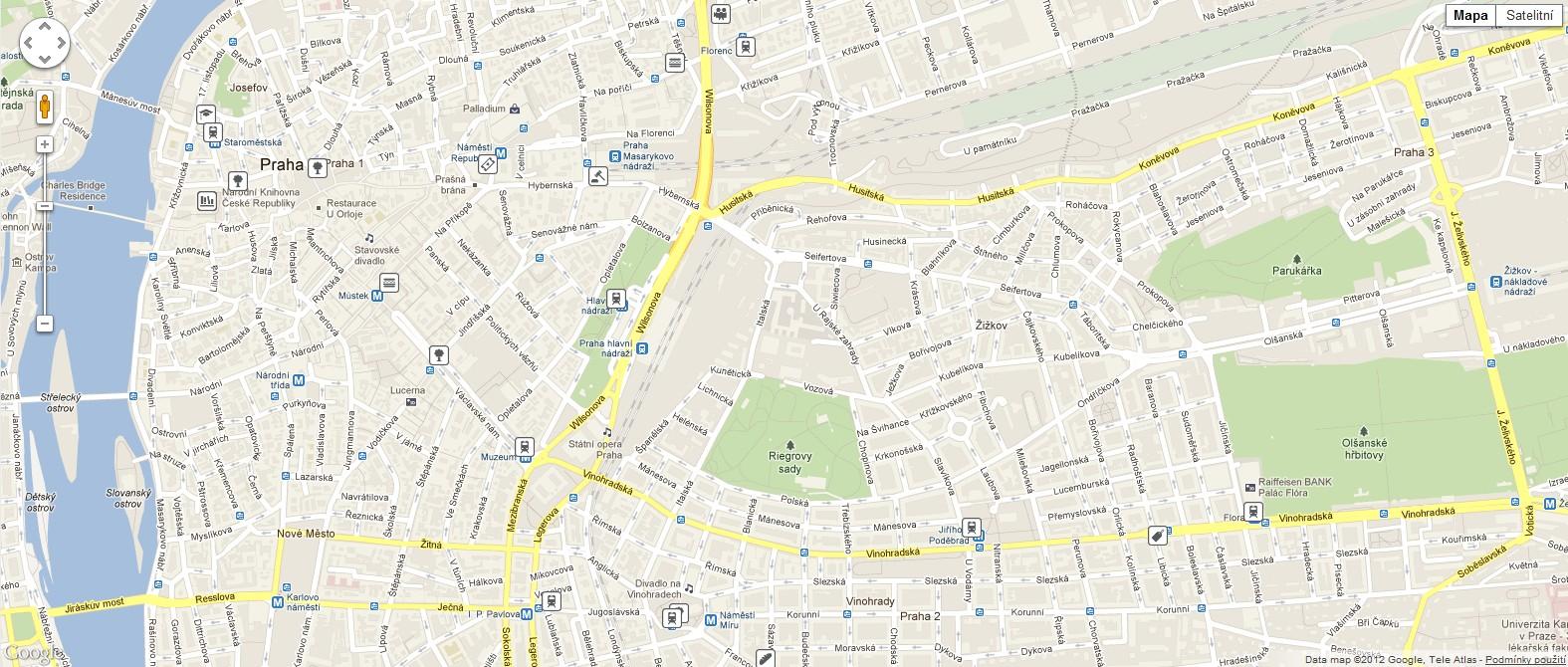 Vizualizace posledních několika geolokačních údajů z aplikace Foursquare