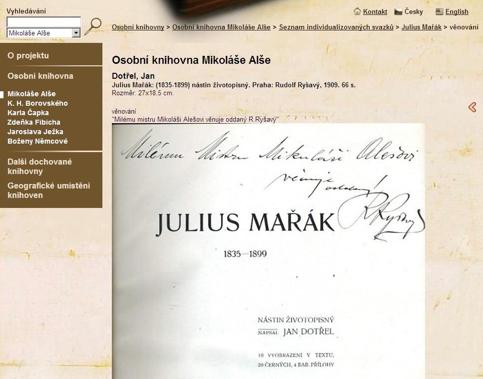 Podpisy, věnování či vpisky ve svazcích v osobních knihovnách mnohdy přibližují kontext autorova života, který není příliš znám