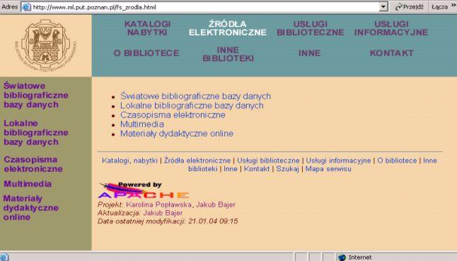 Domovská stránka Hlavní knihovny Technické univerzity v Poznani